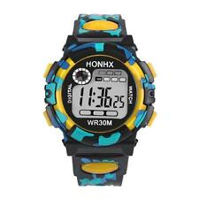 HONHX Men Kid LED Army Alarm Date Rubber Waterproof Sport Boy Unisex Watch #1