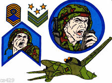 "5""  G.I.JOE ARMY AIRPLANE PLANE VINTAGE CHARACTER WALL SAFE FABRIC DECAL CUT OUT"