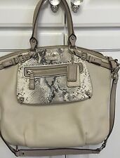Coach Embossed Snakeskin Cream Leather Satchel 19630 Excellent Condition HTF