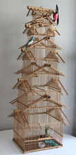 OLD VINTAGE WOOD BAMBOO 8 TIER BIRD CAGE PAGODA STYLE BIRD NEST FEEDER