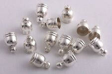 50 pcs Silver Plated Barrel Bead Leather Cord ends caps Jewelry findings 6x9mm