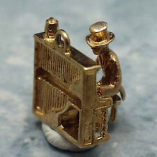 14k gold vintage PIANO PLAYER charm MOVES