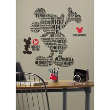 New Giant MICKEY MOUSE TYPOGRAPHY WALL DECALS Kids Bedroom Stickers Room Decor