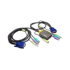 Gp1309 Micro KVM 2 PORTE PS2 VGA AUDIO SWITCH BOX CON CAVI