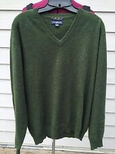 Macy's Club Room 2-Ply 100% Cashmere Soft Warm Hunter Green V-Neck Sweater Large