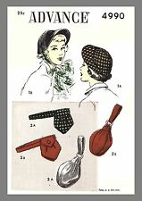 Vintage Advance Hat Bag Pouch Belt  Purse Fabric Material Sewing Pattern  #4990
