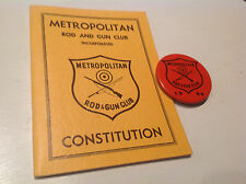 VTG 1958 Brooklyn,NY Rod and Gun Club Constitution Book and Pin(1966)