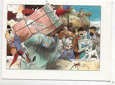 Carte postale Tintin par Pascal SOMON. Retour de Beograd. D'après BILAL