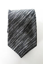 Missoni Mens Gray Black Silk Striped Necktie Tie