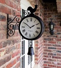 Outdoor Garden Station wall  Clock double Sided, cockerel and bell 28cm rust