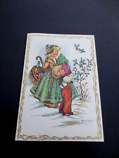 #K710- Vintage Unused Gold Embossed Xmas Greeting Card Feeding Blue Birds