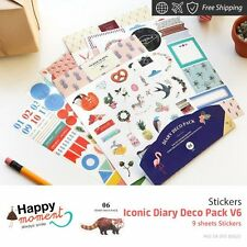 Iconic Diary Deco Pack V6 Stickers For Diary Day Planner & Organizer 9 sheets