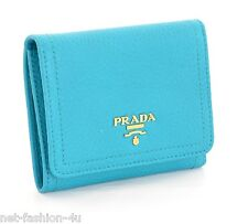 PRADA MILANO PATTINA TURQUOISE CALF LEATHER LOGO WALLET PURSE 100% AUTHENTIC BOX