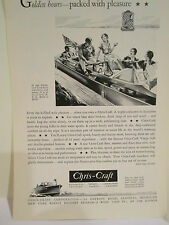 Vintage Original 1931 CHRIS-CRAFT Mahogany Wood Antique BOAT~Family Boating AD