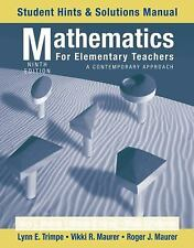 Mathematics for Elementary Teachers, Student Hints and Solutions Manua-ExLibrary
