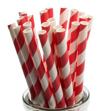 Red Striped Paper Straws x 25 Retro Drinking Cocktail Party Barbecue