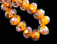 8mm Rondelle Faceted Glass Crystal Rose Flower Inside Lampwork Beads Spacer