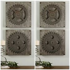 SET OF FOUR DECORATIVE GEARS WALL ART RUSTIC OR CONTEMPORARY GARAGE MAN CAVE