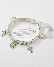 Serenity Prayer Heart Cross AA Al-Anon Recover Jewelry New Charm Bracelet #183-B