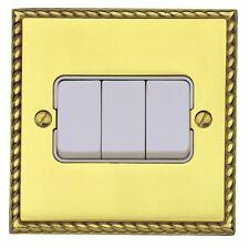MK Grosvenor Plus Polished Brass 3 Gang 2 Way Light Switch K4373 POB