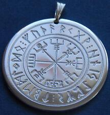 Compas de viking im Cercle de runes, Amulette, Laiton argenté