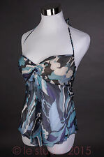 Emilio Pucci Resort Summer sheer flowing silk top in all blues (size 10 US)