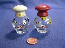 Vintage Clear Glass Painted Happy Chef Salt and Pepper Shakers Irice Wood     60