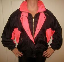 Vtg 80s 90s Descente Neon Pink Black Womens 6 Color Block SKI Coat Jacket Small