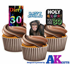 30th Birthday Dirty Thirty Mix 12 Edible Stand Up Cup Cake Toppers Decorations
