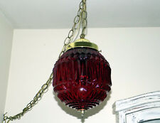 vintage retro swag hanging lamp red light globe glass art chain ceiling 60's-70s