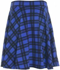 New Womens Tartan Check Block Stretch Band Flared Ladies Skater Skirts Plus Size