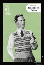 1940's Pennine Wools 442 Knitting Pattern Man's Fair Isle Pullover Tank Top WWII