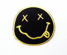 "NEW Nirvana Band embroidered iron on patches dia 3"" Black & Yellow"
