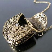 Chic Retro Bronze Bag Locket Box Curb Carved Long Chain Pendant Necklace