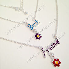 2x Friendship Necklace Set Best Friends Silver Daisy Flower Girls Ladies BFF
