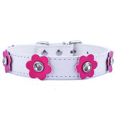 Rhinestone Dog Collar Leather Flowers Studded Dog Necklace Pet Supplies White