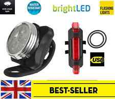 front rechargeable 3 led + rear 5 led USB bike lights set - bright light silicon