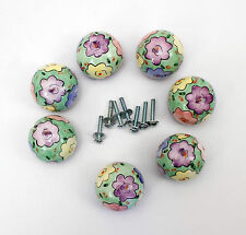 Set of 7 Painted Floral Round Ceramic Drawer Cabinet Pulls Knobs
