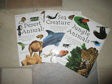 3 Books-Sea Creatures, Desert Animals, Jungle Animal  100+ Questions and Answers