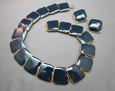 VTG Couture Collar Necklace Clip On Earrings Navy Blue Enamel Squares Bold Gold