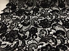 Black Flower Guipure Embroider Lace. Sold By The Yard.bridal- Wedding Lace.