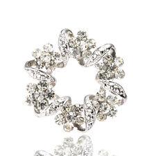 Bridal Wedding Bouquet Shiny Wreath White Rhienstones Brooch Pin Hair BR340