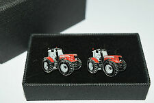 Red Massey Ferguson Tractor Cufflinks-Ideal Gift BOXED! Wedding/Farming Enamel