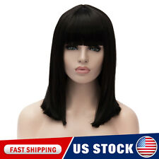 Black Neat Bang Medium Long Street Women Heat Resistant Anime Cosplay Wigs Cap