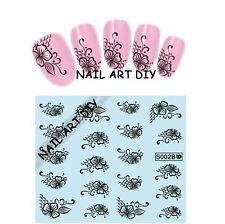 20 Adesivi per unghie FIORI Neri con Pizzo-Stickers-nail art water transfer!