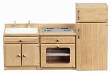 Dollhouse/Furniture/Kitchen/Dining Room/3 Pc. Oak Refrigerator,Sink,Stove D6816A