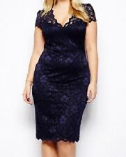 WOMENS BLUE LACE PARTY CLUB WEAR BODYCON MIDI DRESS EVENING PARTY UK SIZE 16 18