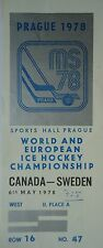 TICKET Eishockey WM 6.5.1978 Canada - Schweden in Prag