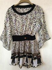 ~ROBERTO CAVALLI TOP BLOUSE VEST SHIRT BLACK WHITE BROWN GOLD S~
