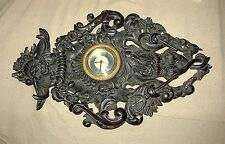 19TH C. FINE CARVED WALL CLOCK WITH EAGLE FINIAL & POSEIDON - REPLACED MOVEMENT
